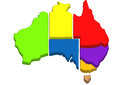 Map of Australia. Each state marked in different colors