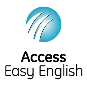 Access Easy English Logo. Teal Blue sphere. 3 small arcs from left to right across it