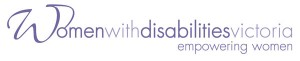 Logo for Women with Disabilities victoria. Words written inpurple