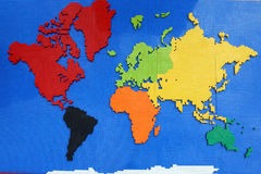 Map of the world. Each continent a different color